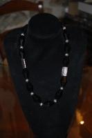 Collana Onice nero e argento indiano